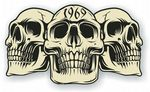 Vintage Biker 3 Gothic Skulls Year Dated Skull 1969 Cafe Racer Helmet Vinyl Car Sticker 120x70mm